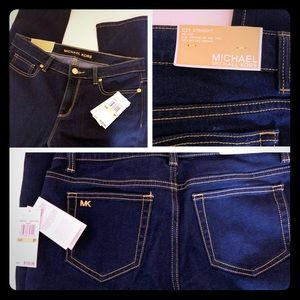NWT Michael Kors Izzy Straight Mid-Rise Jeans
